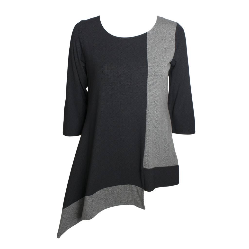 Avivit Yizhar Avivit Yizhar 3/4 Sleeve Asym Top - Black/Grey Print