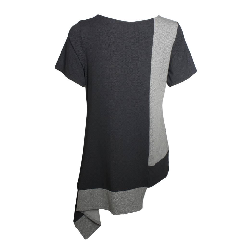 Avivit Yizhar Avivit Yizhar Short Sleeve Asym Top - Black/Grey Print