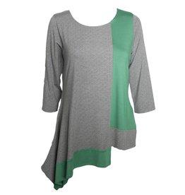 Avivit Yizhar Avivit Yizhar 3/4 Sleeve Asym Top - Green/Grey Print