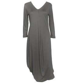 Matthildur Matthildur Long Sleeve V-Neck Dress - Slate
