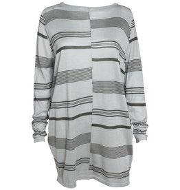 Matthildur Matthildur Long Sweater - Grey w/ Slate Stripes