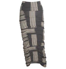 Matthildur Ruched Skirt - Slate w/ Beige Print