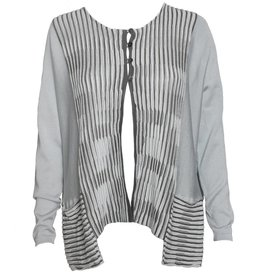 Matthildur Matthildur 4 Button Cardy - Grey w/ Slate Stripes