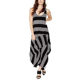 Alembika Alembika Sleeveless Widestripe Dress - Grey/Black