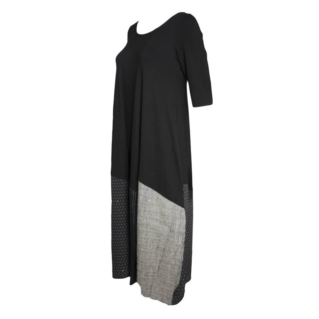 Alembika Alembika 3/4 Sleeve Mix Dress - Black