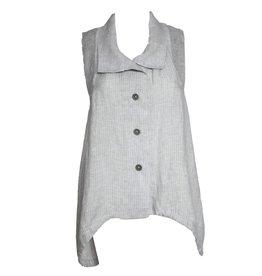 Crea Concept Crea Concept Linen Vest - Light Ash Stripe
