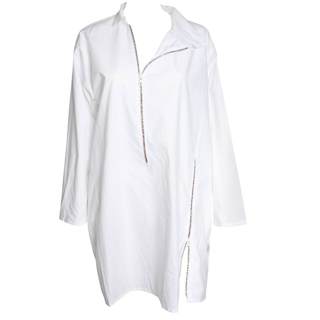Xiaoyan Zip Shirt - White