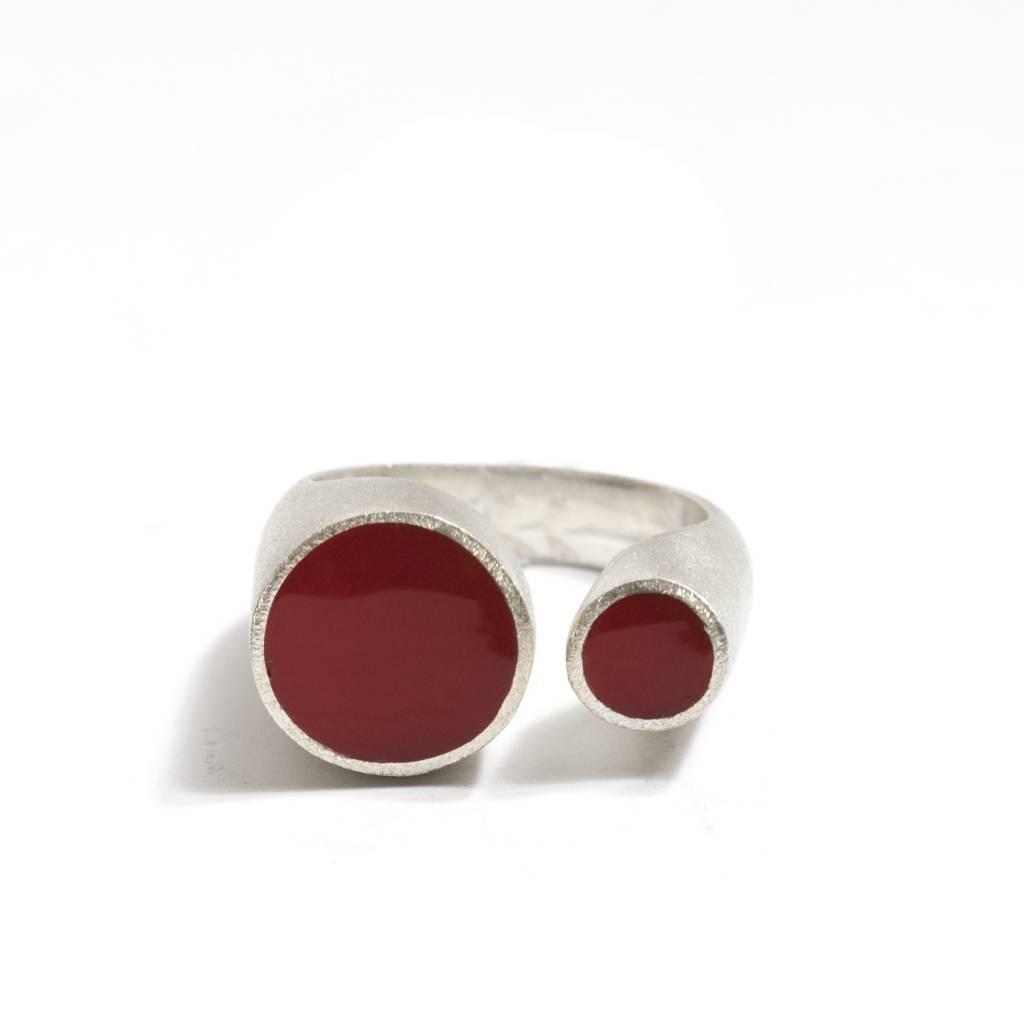 Kikko Kikko Silver & Red Acrylic Ring