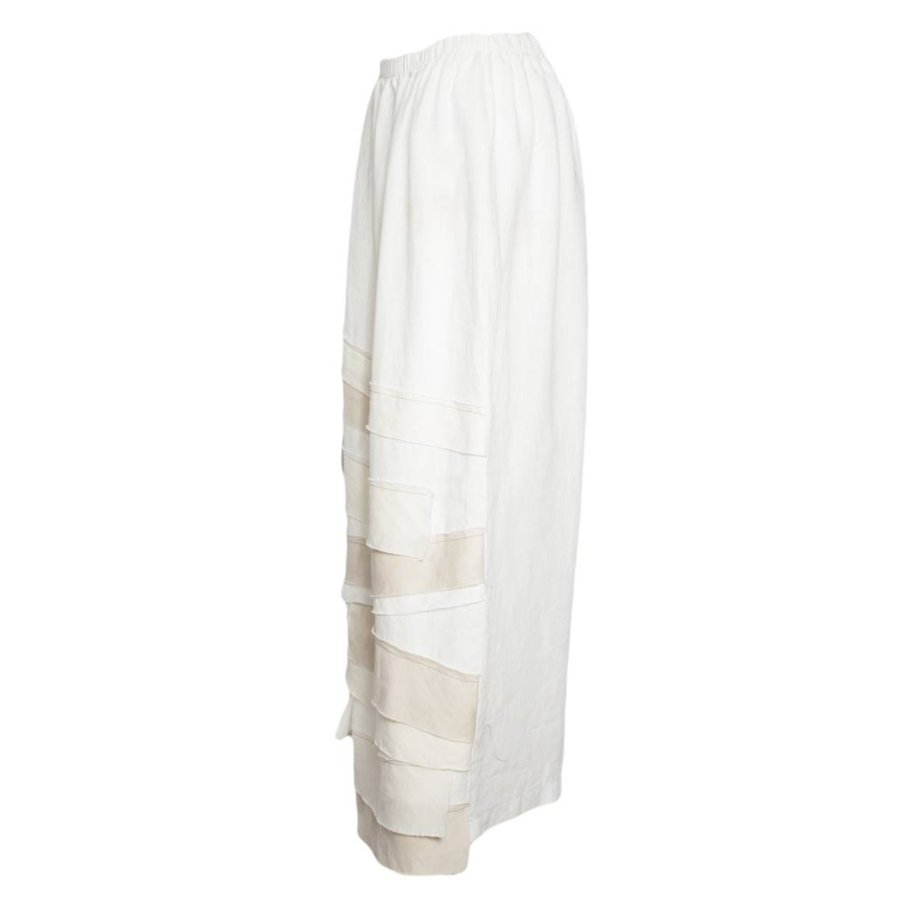 Bodil Bodil Narrow Skirt with Trim - White/Beige