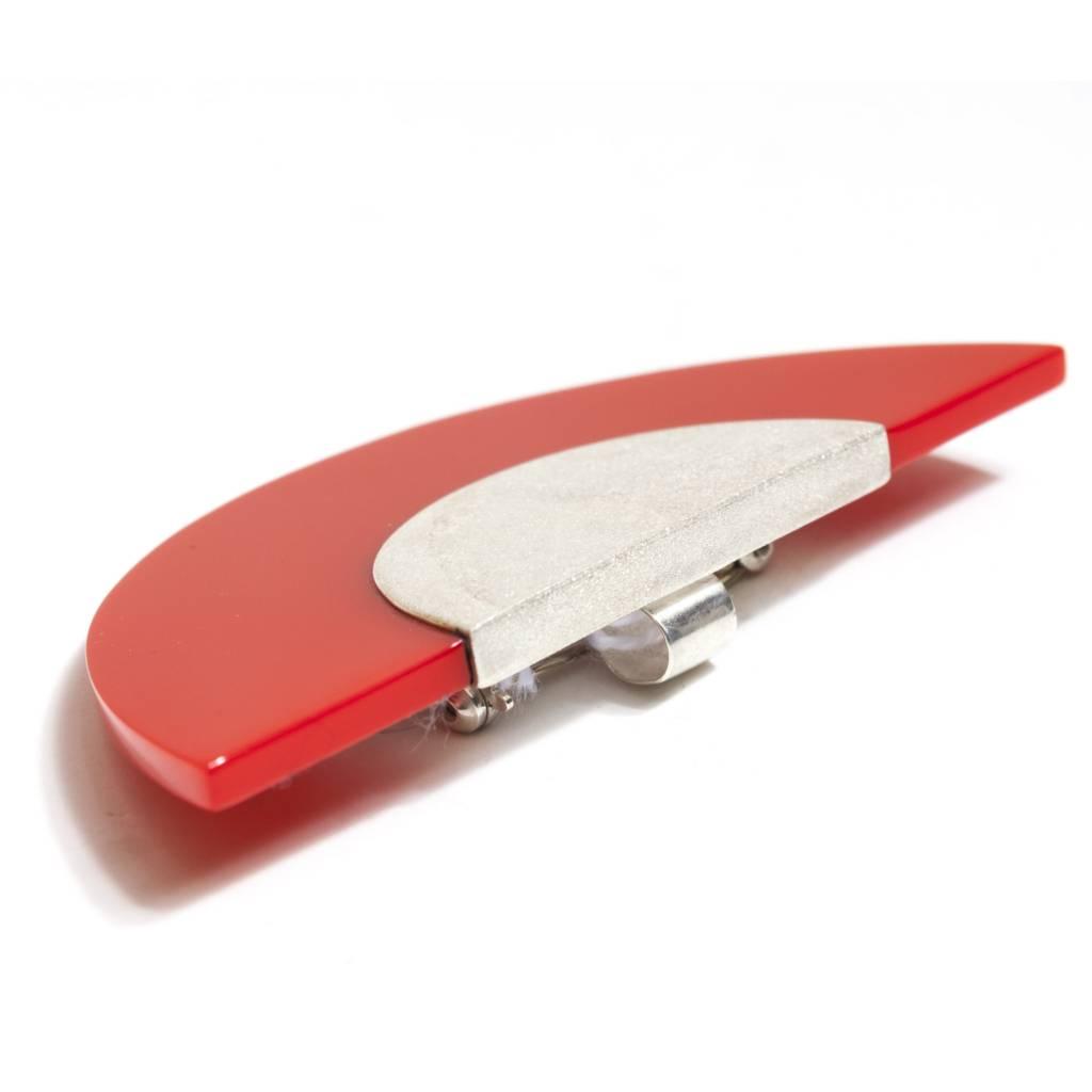 Kikko Kikko Silver & Red Pin