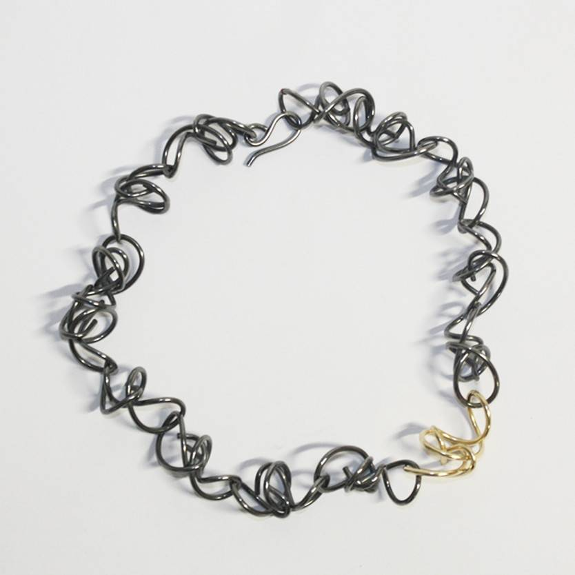 Rina Young Rina Young Oxidized And Gold Necklace