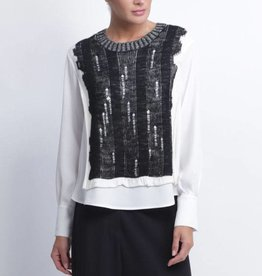 Crea Concept Crea Concept Sweater Blouse - White/Black