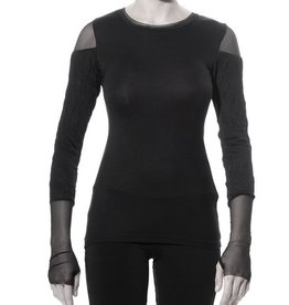 Art Point Crinkle Sleeve Top - Black