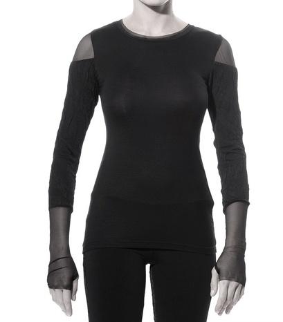 Art Point Crinkle Sleeve Top - Black