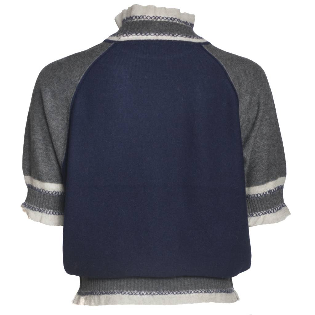 Yoshi Yoshi Yoshi Yoshi High Neck Pullover Sweater - Grey/Navy