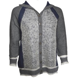 Yoshi Yoshi Yoshi Yoshi High Button Front Hoodie Sweater - Grey/Navy