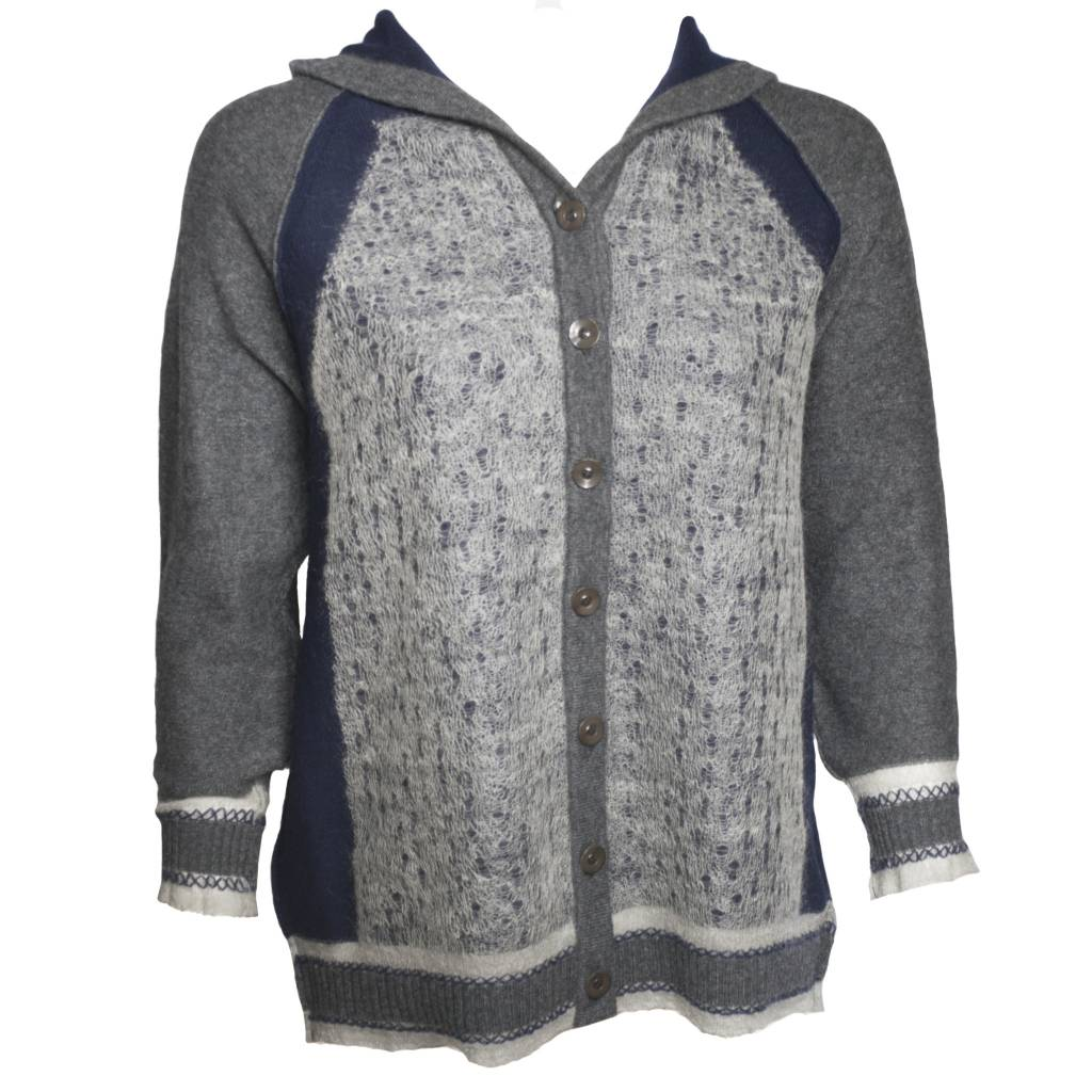 Yoshi Yoshi Yoshi Yoshi High Button Front Hoodie Sweater - Grey/Navy