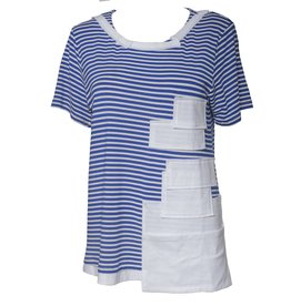 Redwood Court Striped Patwork Tee - Blue/White Stripe