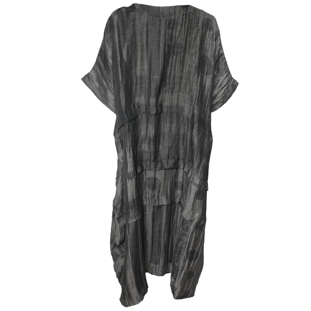 Dress To Kill Dress To Kill Multi Folded Dress - Charcoal Mixed Dots & Stripes