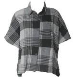 Dress To Kill Dress To Kill Banded Cappy Shirt - Grey Crinkle Plaid
