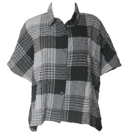 Dress To Kill Dress To Kill Banded Cappy Shirt - Grey Crinkle Plaid