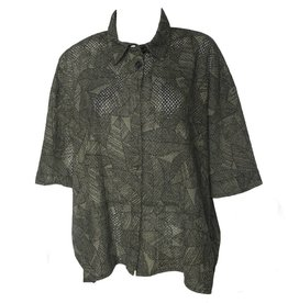 Dress To Kill Dress To Kill Banded Cappy Shirt - Olive Eyelit Leaves