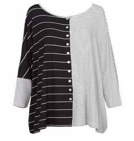 Alembika Alembika Button Front Jersey Top - Stripes