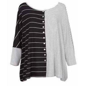 Alembika Alembika Button Front Jersey Top - Stripes