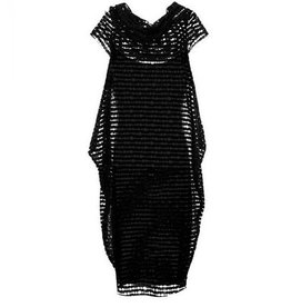 Alembika Alembika Perforated Cowl Neck Dress - Black