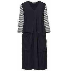 Alembika Alembika V-Neck Stripe Sleeve Techno Dress - Black