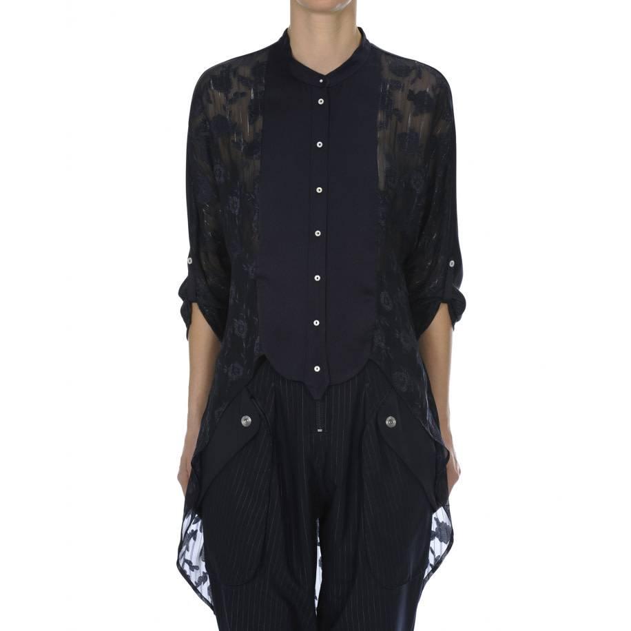 HIGH HIGH Bibelot Button Front Shirt - Navy