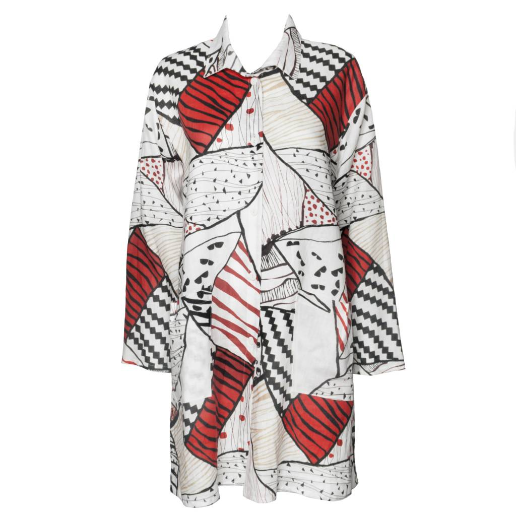 Xiaoyan Abstract Tunic - White with Red Print