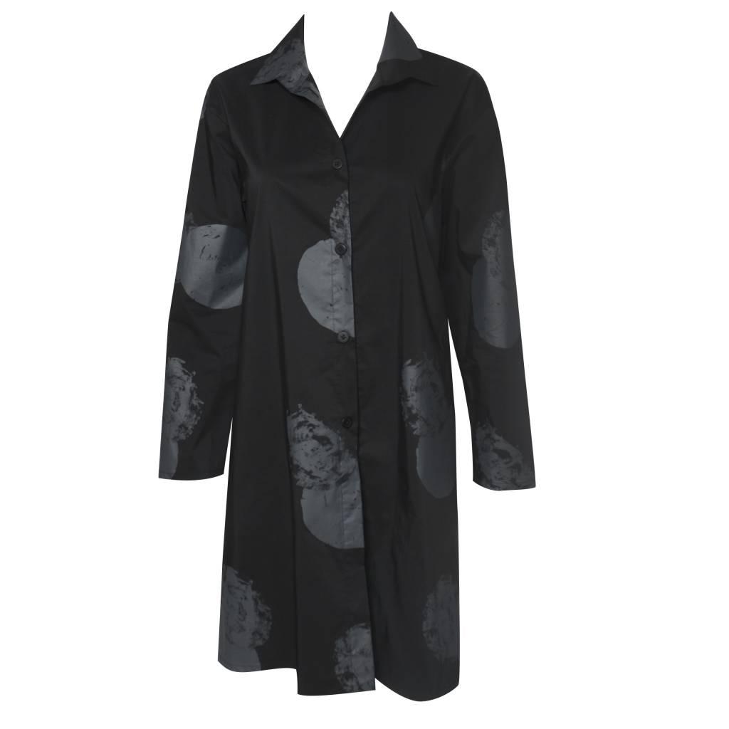 Xiaoyan Button Front Tunic - Black Print