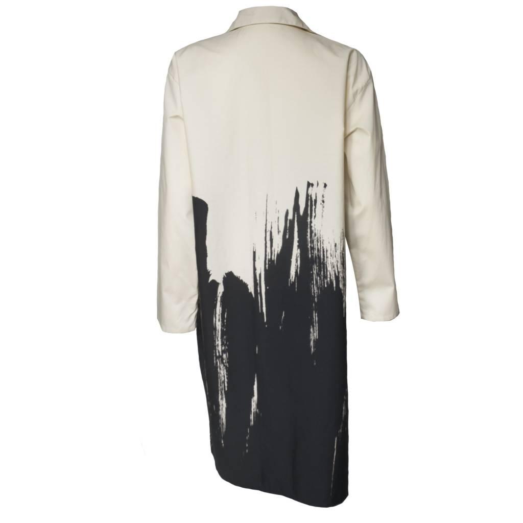 Xiaoyan Button Front Tunic - Brush Print Black/Cream