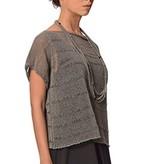 Crea Concept Crea Concept Cap Sleeve Crop Sweater - Grey