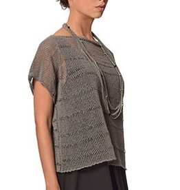 Crea Concept Crea Concept Cap Sleeve Crop Sweater - Grey