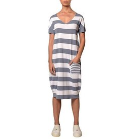 Crea Concept Crea Concept Stripe Pocket Dress - Steel/White