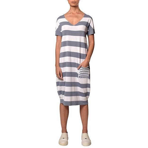 Crea Concept Crea Concept Stripe Pocket Dress - Steel/White