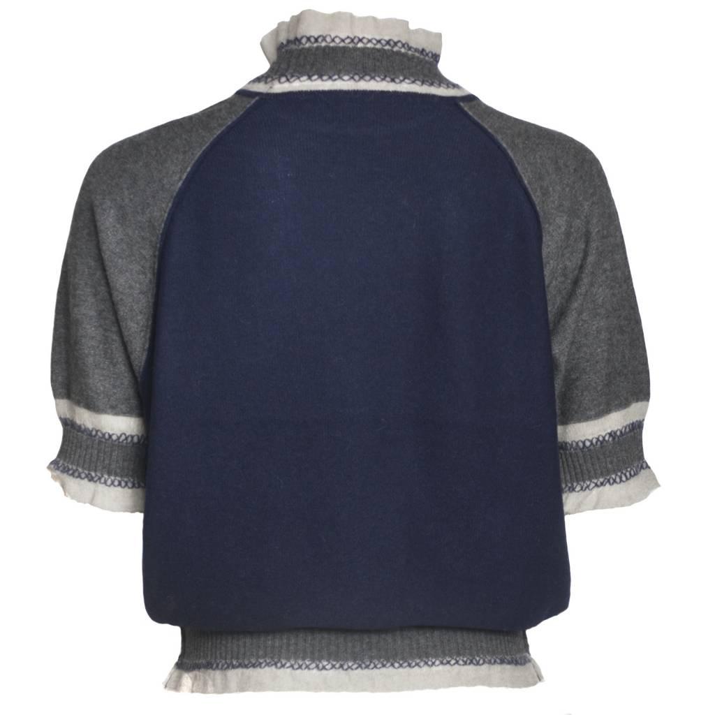 Yoshi Yoshi Yoshi Yoshi High Neck Pullover Sweater - Grey/Navy