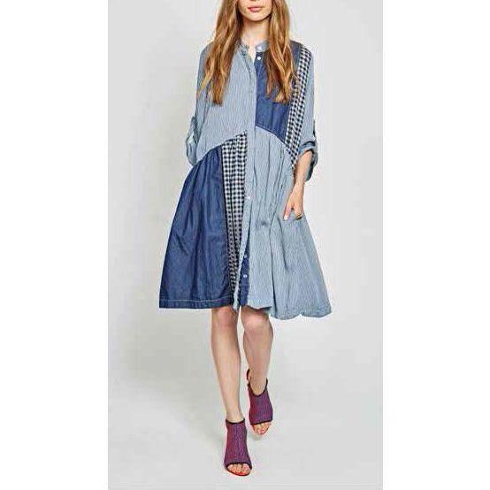Alembika Alembika Patchwork Dress - Blue