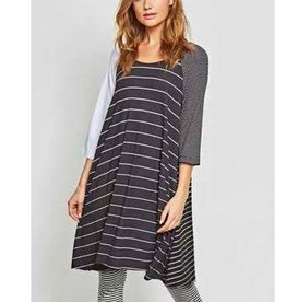 Alembika Alembika 3/4 Sleeve Mix Stripe Tunic Dress