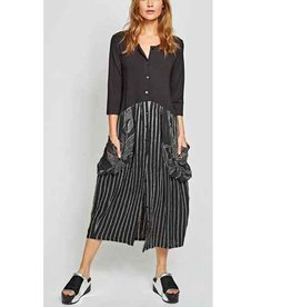 Alembika Alembika Button Front Dress - Blk/Stripes