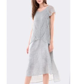 Colour 5 Power Colour 5 Power Cap Sleeve Long Sheath Dress - Grey