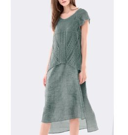 Colour 5 Power Colour 5 Power Cap Sleeve Long Sheath Dress - Green