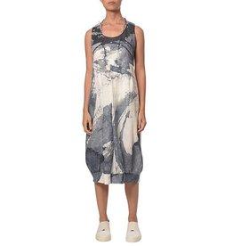 Crea Concept Crea Concept Sleeveless Dress - Blue/White Watercolor Print