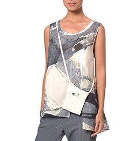 Crea Concept Crea Concept Sleeveless Top - Blue/White Watercolor Print