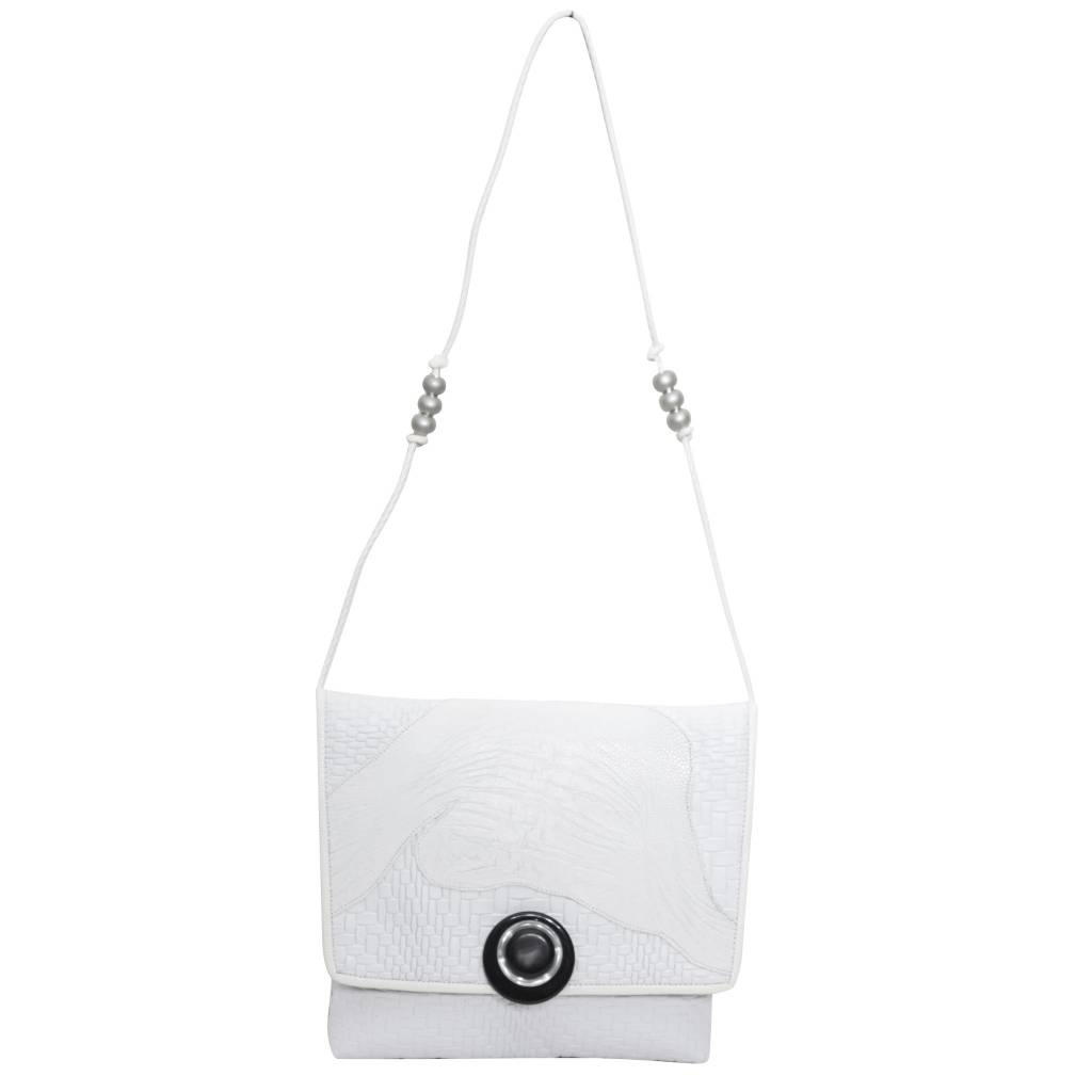 Grace Ann Agostino Grace Ann Agostino Ostrich & Patterned Leather Handbag