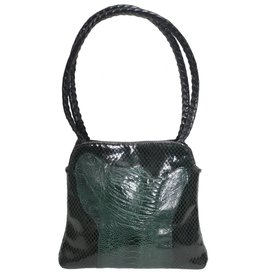 Grace Ann Agostino Grace Ann Agostino Green Leather & Ostrich Handbag