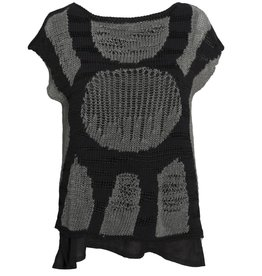 Crea Concept Crea Concept Sleeveless Mixed Knit Sweater - Grey/Black