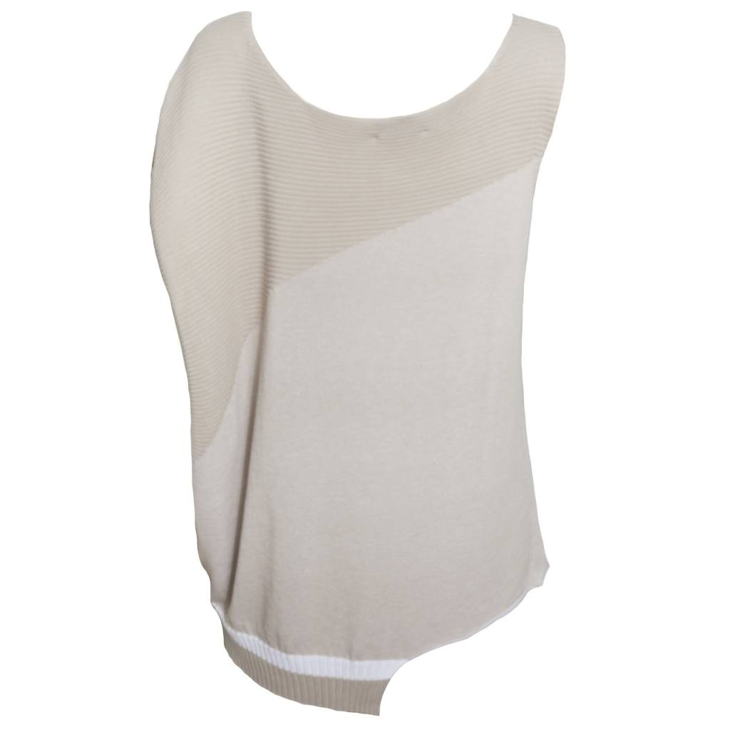 Crea Concept Crea Concept Sleeveless Asyn Sweater - Bone